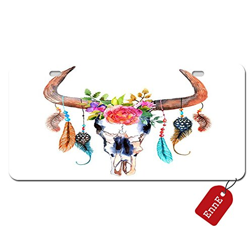 EnnE Personalized Metal License Plate Cover Colorful Bull Horns & Skull Flowers & Feathers For Car 2 Holes Car Tag 11.8 inch X 6.1 inch