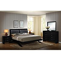 Roundhill Furniture Blemerey 110 Wood Arch-Leg Bed Group with King Bed, Dresser, Mirror and 2 Night Stands, Black