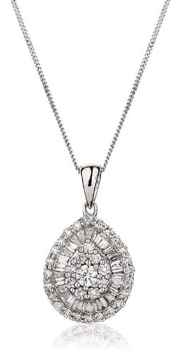 0.65CT Certified G/VS2 Baguette and Round Brilliant Cut Pear Shape Diamond Pendant in 18K White Gold