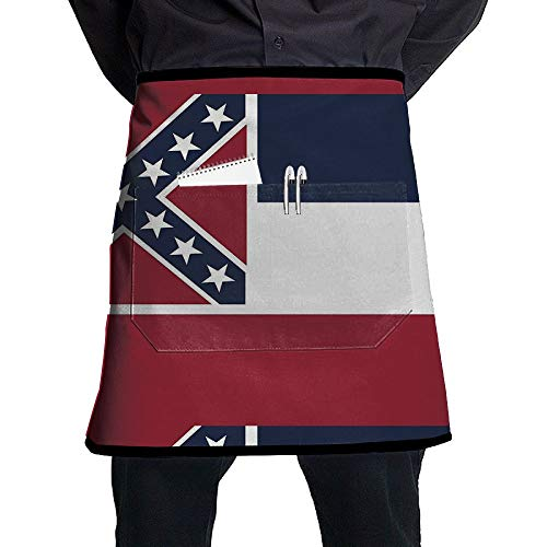 GHDSKH Mississippi State Flag Waist Aprons Commercial Restaurant Home Bib Spun Poly Polyester Kitchen for Unisex