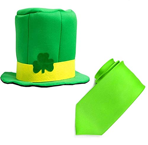 (HANGSET St. Patrick's Day Costume Accessory Includes Shamrock Leprechaun hat and Props Ties for Irish Themed)