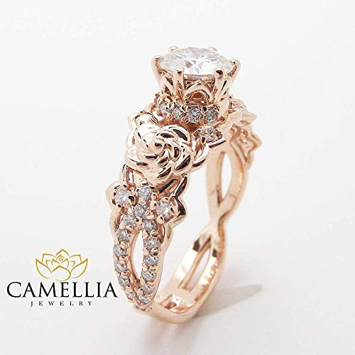 nite Ring Flower Wedding Ring Floral Bridal Ring Halo Ring ()