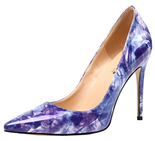 Heel Mehrfarbig Pumps Lackleder Violett Party Damen AOOAR High Hnx7fqz