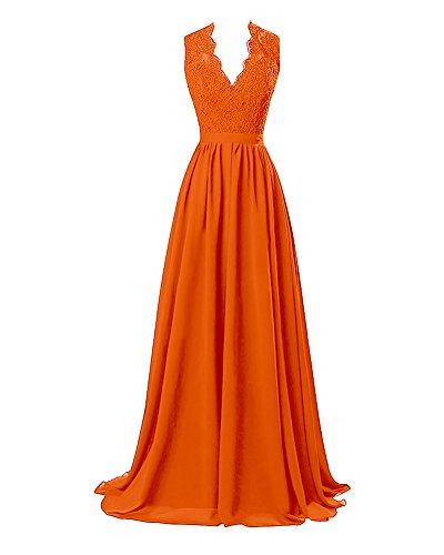 Lafee Bridal V-Neck Lace Prom Formal Dresses Long Chiffon Evening Party Gowns Orange Size (Chiffon Lace Evening Gown)