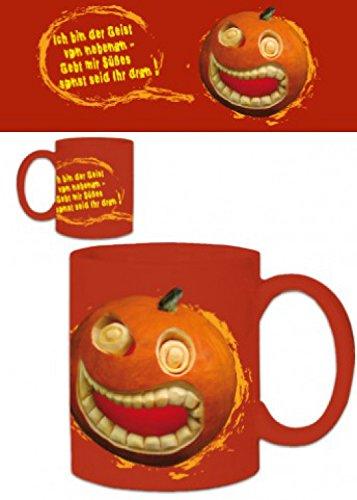 1art1 Set: Halloween, Grinning Pumpkin, Gebt Mir Süßes Sonst Seid Ihr Dran Photo Coffee Mug (4x3 inches) and 1x Surprise - Suse Sticker