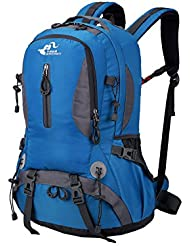 Fvino Hiking Daypack 40L Lightweight Travel Backpack Waterproof for Climbing Camping Cycling Biking Mountaineering-Blue
