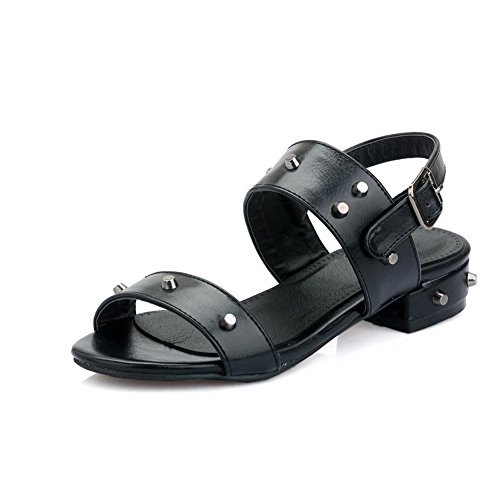 AgooLar Solid PU heels Sandals Low Women's Buckle Toe Black Open rprqP