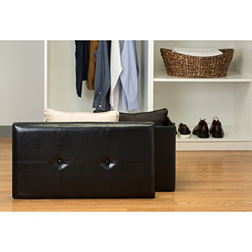 Simplify F-0630-Black Folding Storage Ottoman, Toy Box Chest, Faux Leather,Tufted Padded Seating, Bench, Foot Rest, Stool, Double, Black