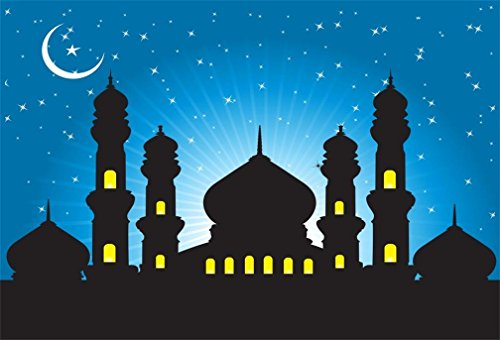 AOFOTO 8x6ft Mosque Silhouette in Night Backdrop Islamic Moon Star Sky Photography Background Muslim Culture Religion Magic Wish Mysterious Temple Desert Arabian Nights Fairy Tale Castle Studio Props