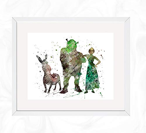 Shrek, Donkey, and Fiona Prints, Shrek Disney Watercolor, Nursery Wall Poster, Holiday Gift, Kids and Children Artworks, Digital Illustration Art ()