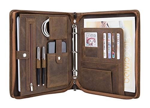 (Professional Portfolio with A5-Sized 3-Ring Binder, Business Padfolio Case Documents Holder Folder Organizer (Non-Custom, Brown) …)