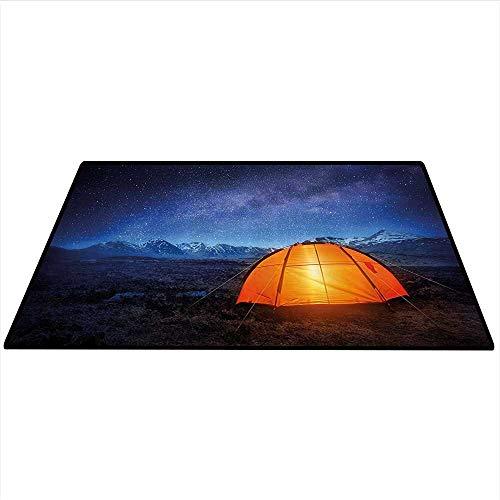 Camper Customize Floor mats A Tent Glows Under Night Sky Full of Stars Exploring Universe Life Picture Indoors Bathroom 4'x6' (W120cmxL180cm) Dark Blue Orange -