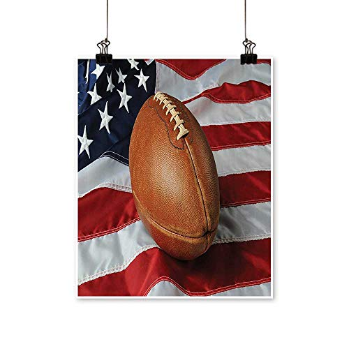 Artwork for Office Decorationsball Against USA Flag Vertical Format Patriotism Natial Sport Canvas Living Room,16