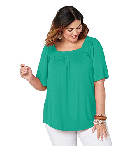 Avenue Women's Solid Color Square Neck Top, 18/20 Teal ()