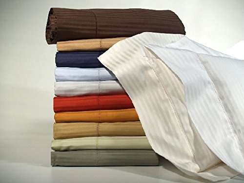 Flat Pearl Sheet - Bellino Millerighe 300TC Egyptian Cotton Individual Flat Sheets - King Pearl