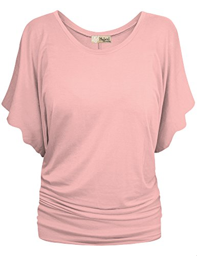 HyBrid & Company Womens Boat Neck Dolman Top Shirt KT44130 Blush S (Fame Light T-shirt)