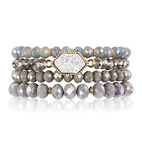 RIAH FASHION Bohemian Versatile Multi-Layer Bead Statement Bracelet - Stretch Strand Stackable Cuff Bangle Set Sparkly Crystal, Acrylic Druzy, Pave Fireball (Hexagon Acrylic Druzy - Gray)