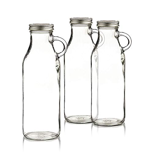 Set of 3 Clear Glass Milk Bottles - Vintage Old Fashioned Design with Metal Screw on Lids, Lightweight (1 Quart) - Clear -
