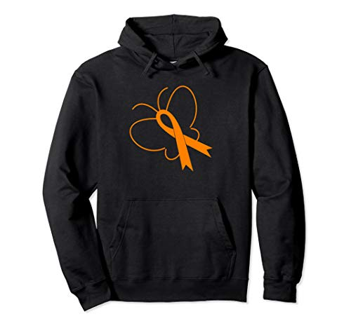 MS Awareness Gift Hoodie for Women MS Ribbon and Butterfly