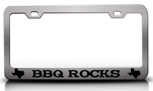 Silver Trailer Giant Bbq (Tollyee BBQ Rocks Texas Map Steel Metal License Plate Frame Ch # 5)