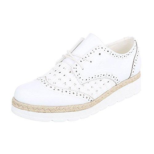 Ital-Design - Zapatos Planos con Cordones Mujer Weiß 534-Y