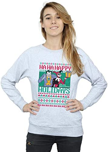 DC Comics Women`s Joker and Harley Quinn Ha Ha Happy Holidays Sweatshirt