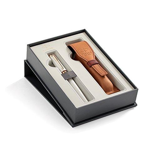 Parker Ingenuity Slim Pearl PGT + Brown Leather Pen Pouch Set