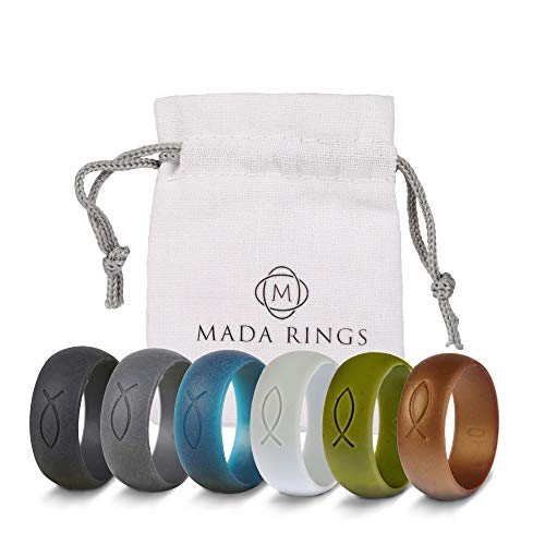 Mada Rings Silicone Wedding Rings Bands Designed for Active Lifestyles — Hypoallergenic, Medical-Grade Silicone — Perfect for Men (Black, Blue, Dark Grey, Gold, Light Grey, Olive Green, 8)