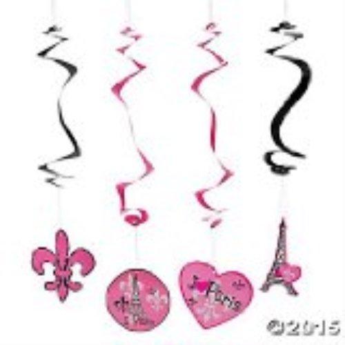 Pink Paris Party Hanging Swirl Decorations - 12