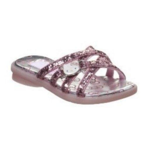 Hello Kitty Girls Pink Glitter Sandals Slide On Flats Size 1