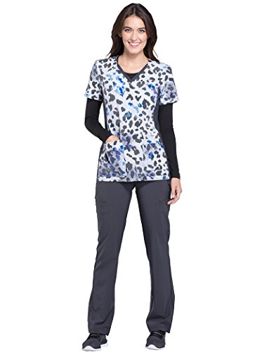 Animal Print Scrub Tops (Cherokee Women's V-Neck Side Panel Animal Print Scrub Top Large Print)
