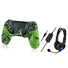 Everydaysource Compatible with Sony PlayStation 4(PS4) Camouflage Navy Green Silicone Skin Case + Black Headset with Microphone