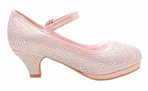 Forever Dana-53K Little Girl Kids Mid Heel Princess Pageant Rhinestone Pretty Sandal Dress Pumps Dancing Shoes (1, Pink) (Pink Kids Dress Shoes)