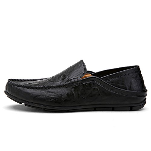 Schuhe Loafers Größe Große Schuhe 46 Flache 38 Schwarz Slippers Bootsschuhe LILY999 Halbschuhe Mokassins Herren xpCqwA4
