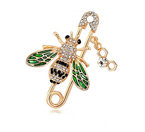 GYAYU Brooch pins Women Enamel Crystal Bees Insect Pin Lapel Pin Large Safety Pin