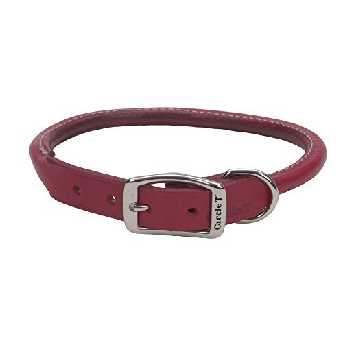 "Coastal Pet Products Circle T Oak Tanned Leather Round Dog Collar, 1"" x 22"", Red"