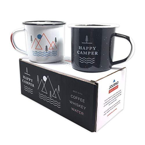 Happy Camper Enamel Camping Mugs SET OF TWO! Get Both A White & A Black Eco-Friendly, Oven-Friendly, Open-Fire-Friendly Cup. The Perfect Size Too: 12 Ounce (350 ml). Plus, It'll Taste Better In These!