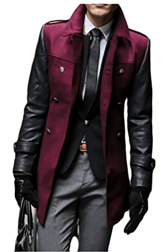 M&S&W Mens Stand Collor Thick Overcoat Pea Outwear Trench Coat Wine Red