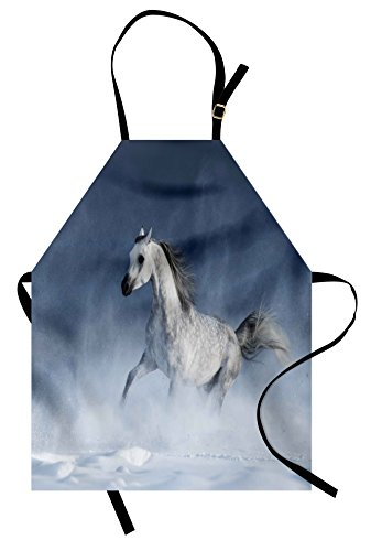 Lunarable Arabian Apron, Arabian Horse Galloping During a Snowstorm Stallion Winter Snow View Equine Print, Unisex Kitchen Bib Apron with Adjustable Neck for Cooking Baking Gardening, Night Blue ()