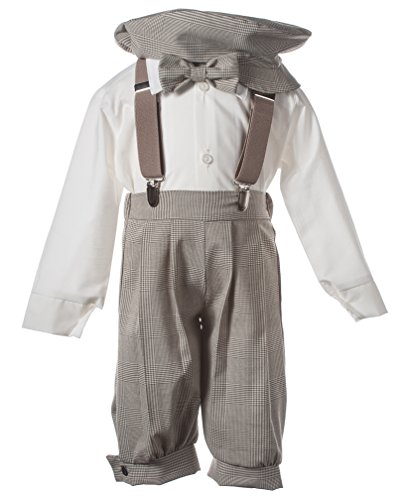 Baby Boys Tan Plaid Knicker Set with Elastic Suspenders and Pageboy Hat, 12 Month ()