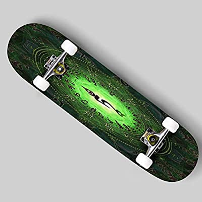 Cuskip Yarn Ball Pit Skateboard Complete Longboard 8 Layers Maple Decks Double Kick Concave Skate Board, Standard Tricks Skateboards Outdoors, 31