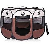 Mumoo Bear Fabric Pet Play Pen Folding Pet Dog Cat Rabbit Pig Playpen Pet Kennel Cage, Small, Brown