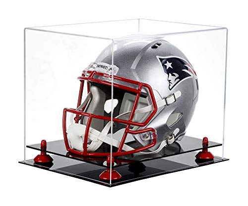 Deluxe Clear Acrylic Football Helmet Display Case with Red Risers (A002-RR)
