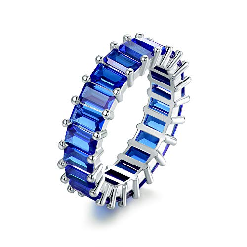 Barzel 18K Rhodium Plated Eternity Cubic Zirconia Ring (Emerald Cut Sapphire, 7)