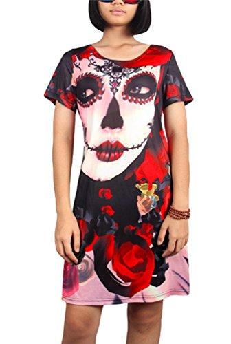 Niseng Mujeres Halloween Vestido Manga Corta Impresión Vestido Mini Vestido De Fiesta Verano Loose Vestido Estilo 15#