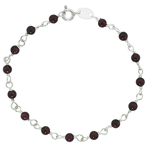 Silver Wire Wrapped Bracelet (Sterling Silver Natural Garnet Bead Bracelet 4 mm Wire Wrapped Handmade, 7 inch)