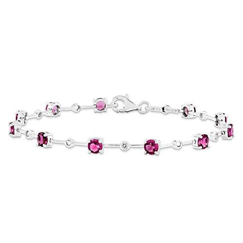 Bracelet en argent Sterling avec Tourmaline rose-JewelryWeb