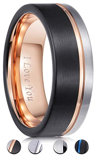 Black Gold Silver Wedding Bands - PINONLY 8mm Tungsten Carbide Wedding Band Men Women Rose Gold Line Ring-Silver Black Brushed-Engraved 'I Love You' Comfort Fit