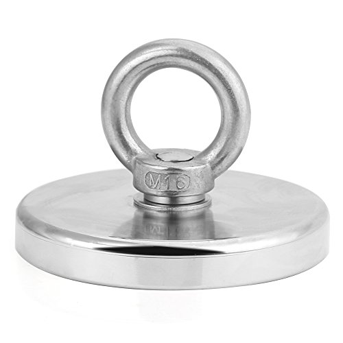 HHOOMY 1000LBS Pulling Force (453Kg) Powerful Round Neodymium Magnet with Countersunk Hole and Eyebolt, 4.72 Diameter, Great for Salvage or Magnetic Fishing