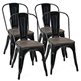 COSTWAY Tolix Style Dining Chairs Industrial Metal Stackable Cafe Side Chair w/Wood Seat Set of 4 (Black)